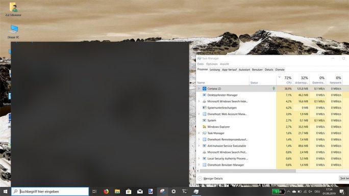 Windows 10 1903: KB4512941 sorgt für eine hohe hohe CPU-Lastung, wenn die Bing-Suche deaktiviert ist (Screenshot: ZDNet.de).