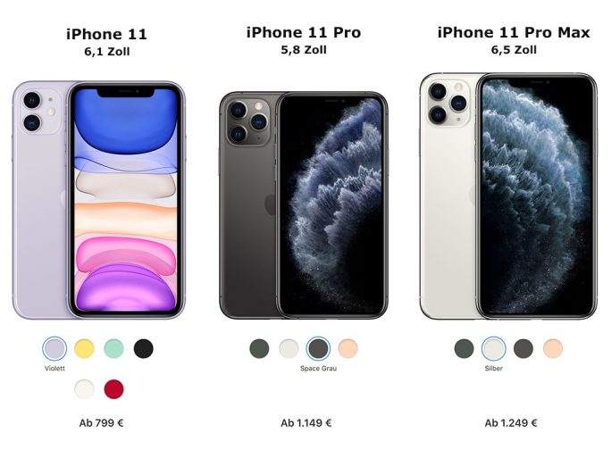 iPhone 11: Modelle 2019 (Bild: Apple)