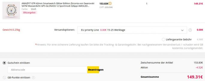 Amazfit GTR Glitter Edition für knapp 150 Euro (Screenshot: ZDNet.de)