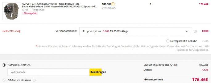 Amazfit GTR Titanium Edition für knapp 180 Euro (Screenshot: ZDNet.de)