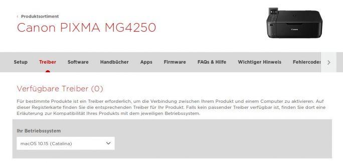 Canon Pixma MG4250: Keine Treiber für macOS Catalina (Screenshot: ZDNet.de)