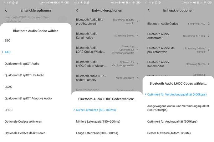 Entwickleroptionen: Konfiguration LHDC-Codec (Screenshot: ZDNet.de)