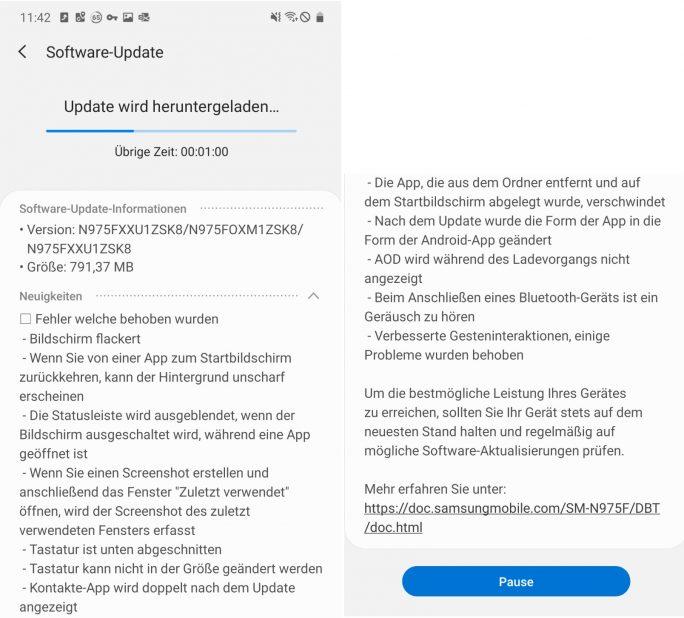 Galaxy Note 10: Beta 2 behebt zahlreiche Fehler (Screenshot: ZDNet.de)