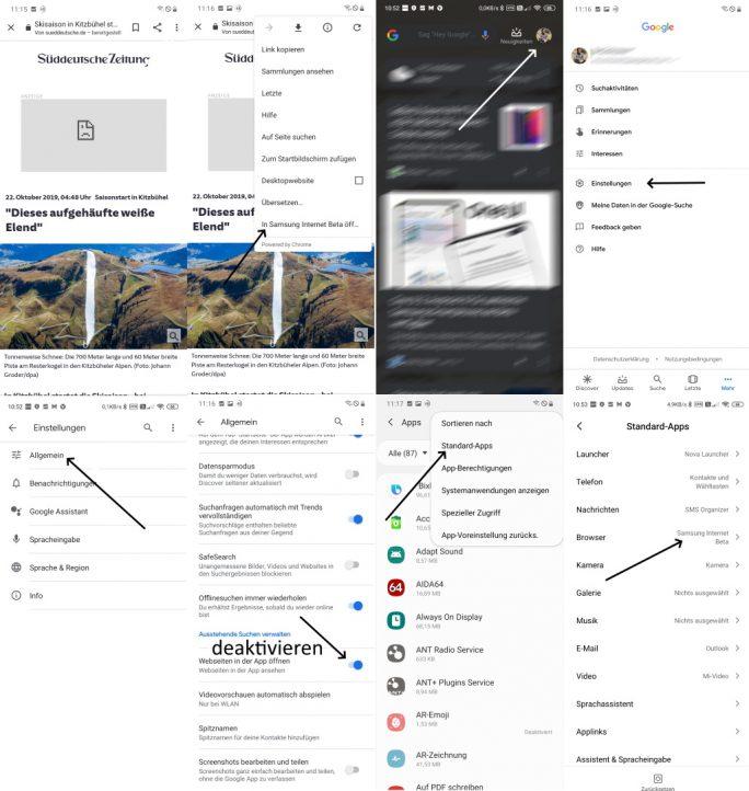 Google-Feed: Links mit Standard-Browser und nicht der Google-App öffnen (Screenshot: ZDNet.de)