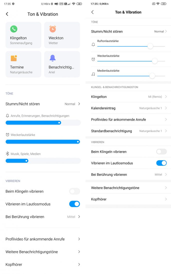 Einstellungen-Ton: MIUI 11 (links), MIUI 10 (rechts) (Screenshot: ZDNet.de).