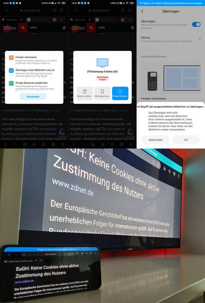 MIUI 11: Inhalte auf TV übertragen (Bild: ZDNet.de).