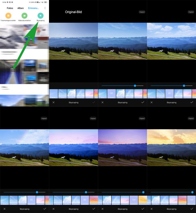 MIUI 11: Gallery-App mit neuer Funktion Skyscaping (Screenshot: ZDNet.de).