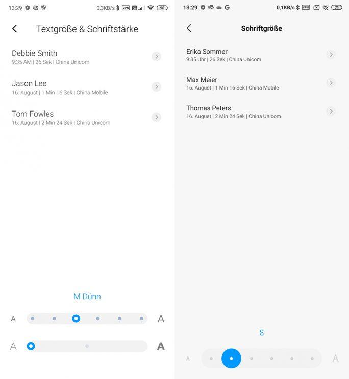 MIUI 11: Textgröße und Schriftstärke können angepasst werden. Unter MIUI 10 lässt sich nur die Schriftgröße anpassen (Screenshot: ZDNet.de).
