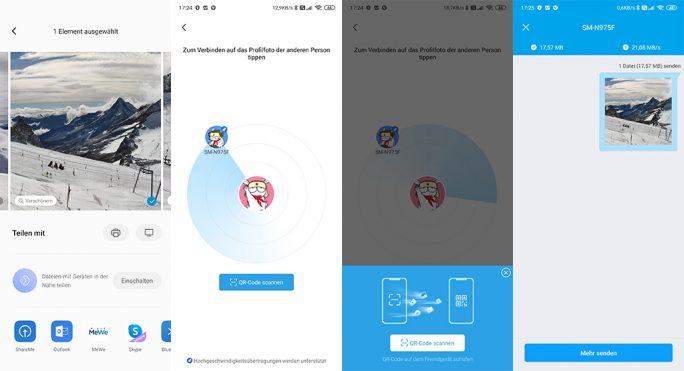 MIUI11: Mit Mi Share respektive der App ShareMe lassen sich Dateien zwischen Geräten schnell und einfach austauschen (Screenshot: ZDNet.de).
