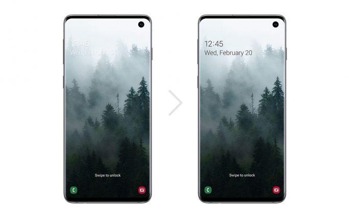 One UI 20: Die Textfarbe im Sperrbildschirm passt sich je nach Hintergrundbild automatisch an (Bild: Samsung).