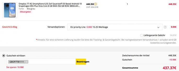 OnePlus 7T für 437 Euro (Screenshot: ZDNet.de)