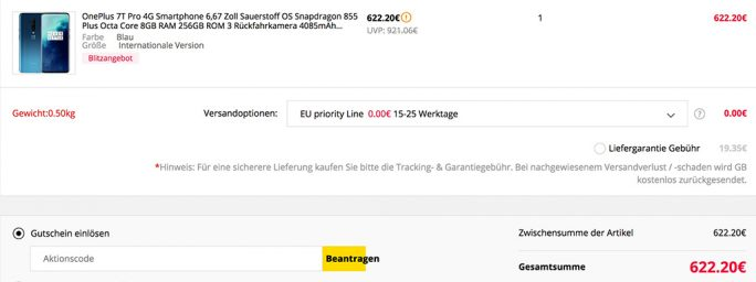OnePlus 7T Pro für 622 Euro (Screenshot: ZDNet.de)