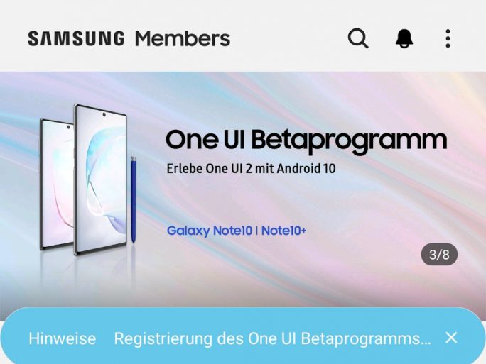 Samsung Note 10: Mit Samsung Member für Beta registrieren (Screenshot: ZDNet.de)