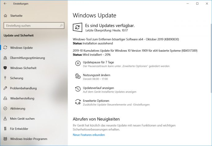 Windows 10 1909: Update (Screenshot: ZDNet.de)