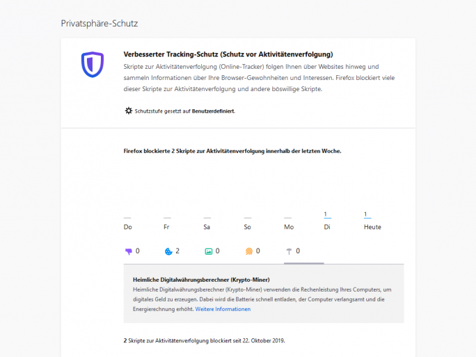 Tracking-Schutz von Firefox 70 (Screenshot: ZDNet.de)