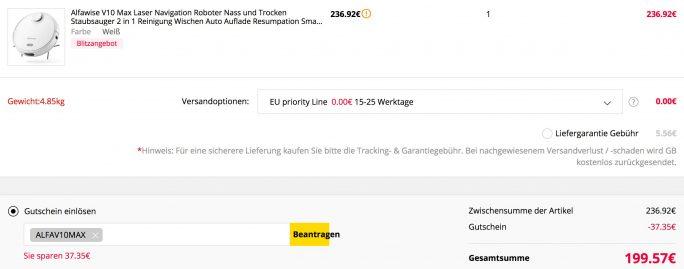 Alfawise V10 Max für 200 Euro (Screenshot: ZDNet.de)