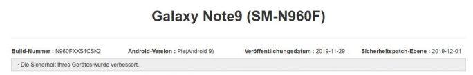 Galaxy Note 9: Samsung veröffentlicht Dezember-Update (Screenshot: ZDNet.de)