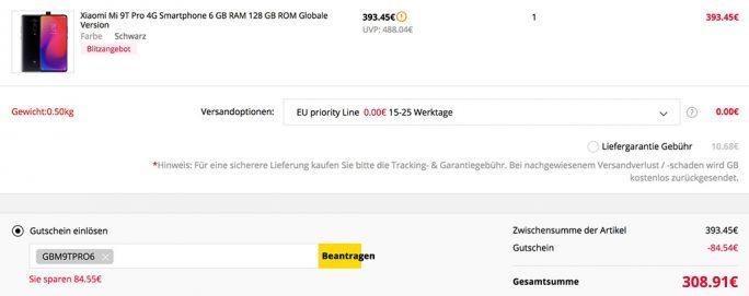 Mi 9T Pro 128 GByte für 309 Euro (Screenshot: ZDNet.de)