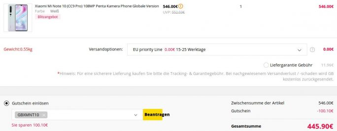 Xioami Mi Note-10 für 446 Euro (Screenshot: ZDNet.de)