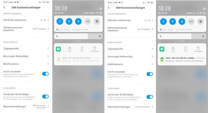 Mi Note 10: VoLTE und VoWiFi unter Einstellungen konfigurieren (Screenshot: ZDNet.de).