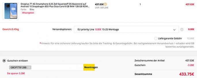 OnePlus 7T mit 128 GByte für 433 Euro (Screenshot: ZDNet.de)