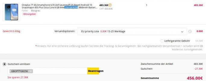 OnePlus 7T mit 256 GByte für 456 Euro (Screenshot: ZDNet.de)