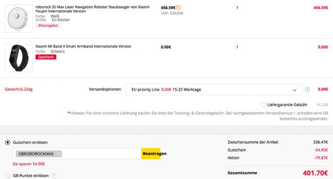 Roborock S5 Max mit Mi Band 4 für 401 Euro (Screenshot: ZDNet.de)