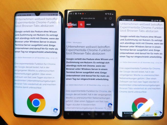 Bei Smartphones mit abgerundeten Bildschirmrändern (Mi Note 10: links, Galaxy Note 10+: mitte) ist eine Art Trauerflor zu sehen.Beim Mi Note mit flachem Display (rechts) ist die Darstellung besser (Bild: ZDNet.de).