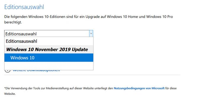 Windows 10 1909 (Screenshot: ZDNet.de)