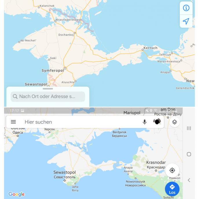 Grenzverlauf zur Krim (Screenshot: ZDNet.de)
