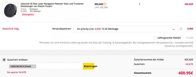 Roborock S5 Max für 400 Euro (Screenshot: ZDNet.de)