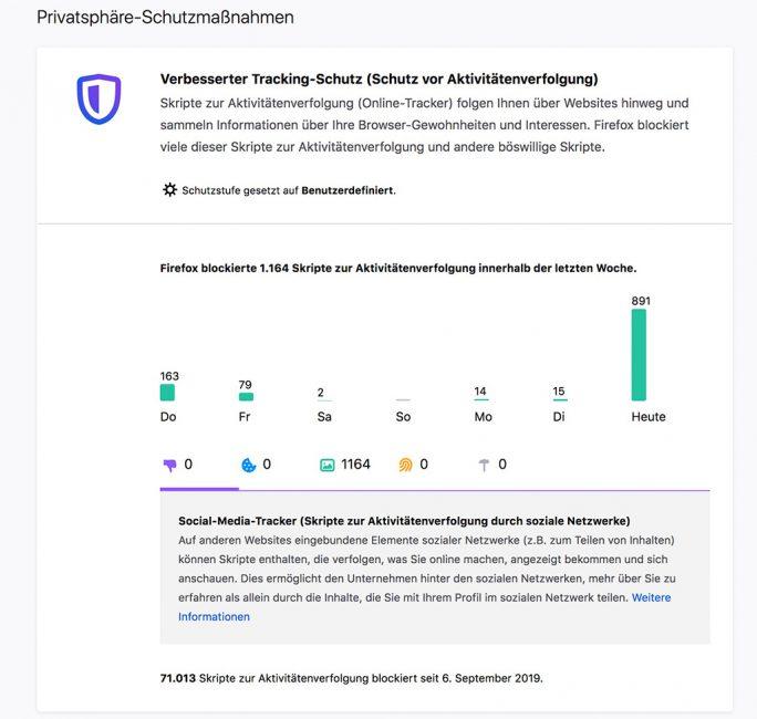 Firefox: Trackingschutz (Screenshot: ZDNet.de)