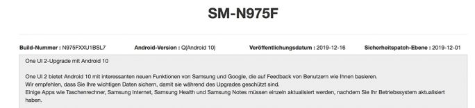 Galaxy Note 10: Android-10-Update wird ausgeliefert (Screenshot: ZDNet.de)