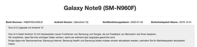 Galaxy Note 9: Android-10-Update (Screenshot: ZDNet.de)
