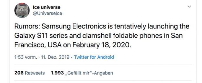 Die Galaxy S11-Smartphones sollen am 18. Februar 2020 vorgestellt werden (Screenshot: ZDNet.de)