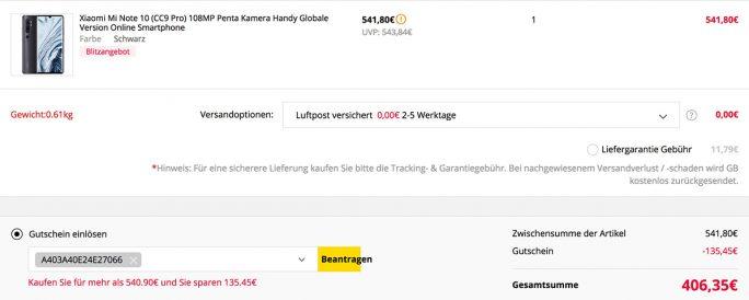 Mi Note 10 aus europäischem Warenlager für 406,35 Euro (Screenshhot: ZDNet.de)