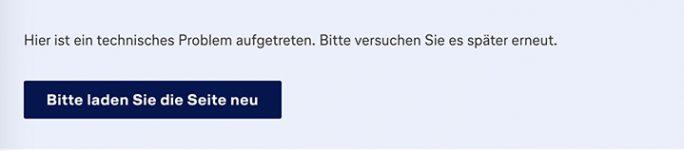 Miles & More: Seite zur Kontaktaufnahme mit Fehler (Screenshot: ZDNet.de)