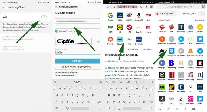 Samsung Bedienung: Cloud-Anbindung und Synchronisation von Lesezeichen und Schnellzugriff (Screenshot: ZDNet.de)