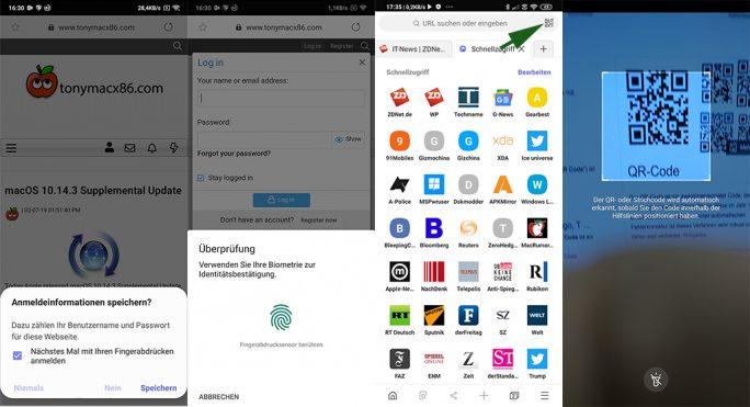 Samsung Internet: Anmeldung mit Fingerabdrucksensor und QR-Code-Leser (Screenshot: ZDNet.de)