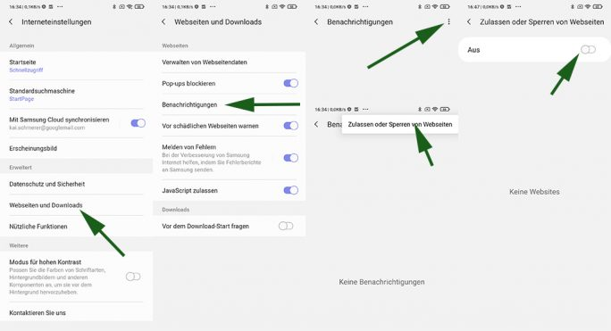 Samsung Internet: Benachrichtigshinweise verbieten (Screenshot: ZDNet.de)