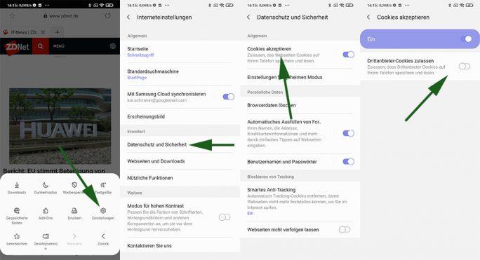 Samsung Internet: Drittanbieter-Cookies verhindern (Screenshot: ZDNet.de)