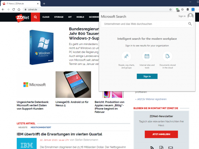 Microsoft Search in Bing (Screenshot: ZDNet.de)