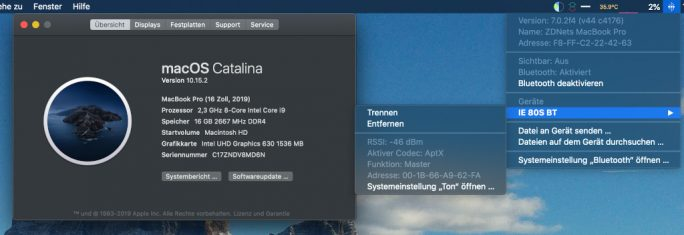 macOS: aptX aktiv (Bild: ZDNet.de)
