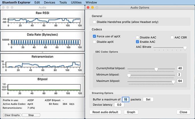 macOS: Mit Bluetooth Explorer aptX aktivieren (Screenshot: ZDNet.de)