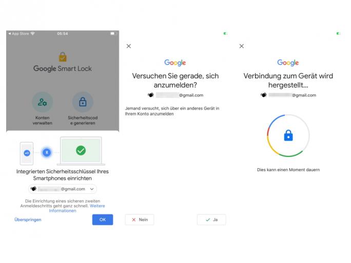 iPhone als Sicherheitsschlüssel (Screenshot: ZDNet.de)