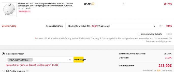 Alfawise V10 Max für 214 Euro (Screenshot: ZDNet.de)