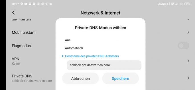 Android: Privates DNS aktivieren (Screenshot: ZDNet.de)