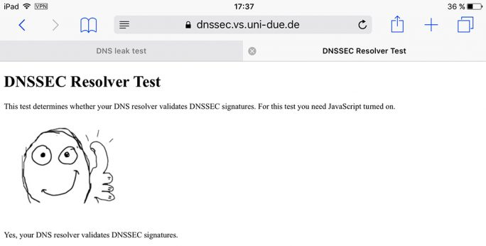 DNSSEC-Test (Screenshot: ZDNet.de)
