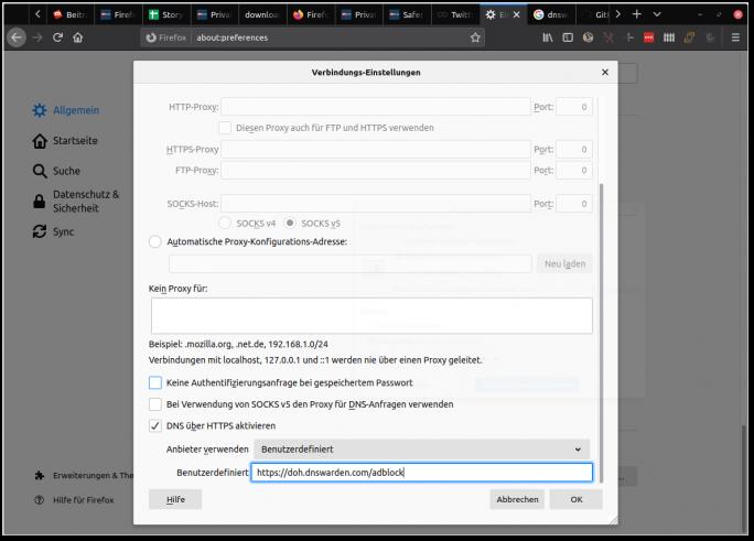 Firefox 73: DNS-over-https (Screenshot: ZDNet.de)
