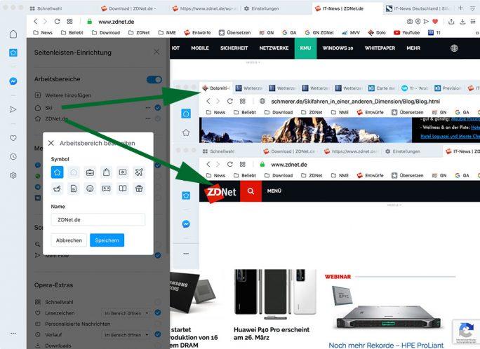 Opera R2020 alias 67.0: Arbeitsbereiche (Screenshot: ZDNet.de)